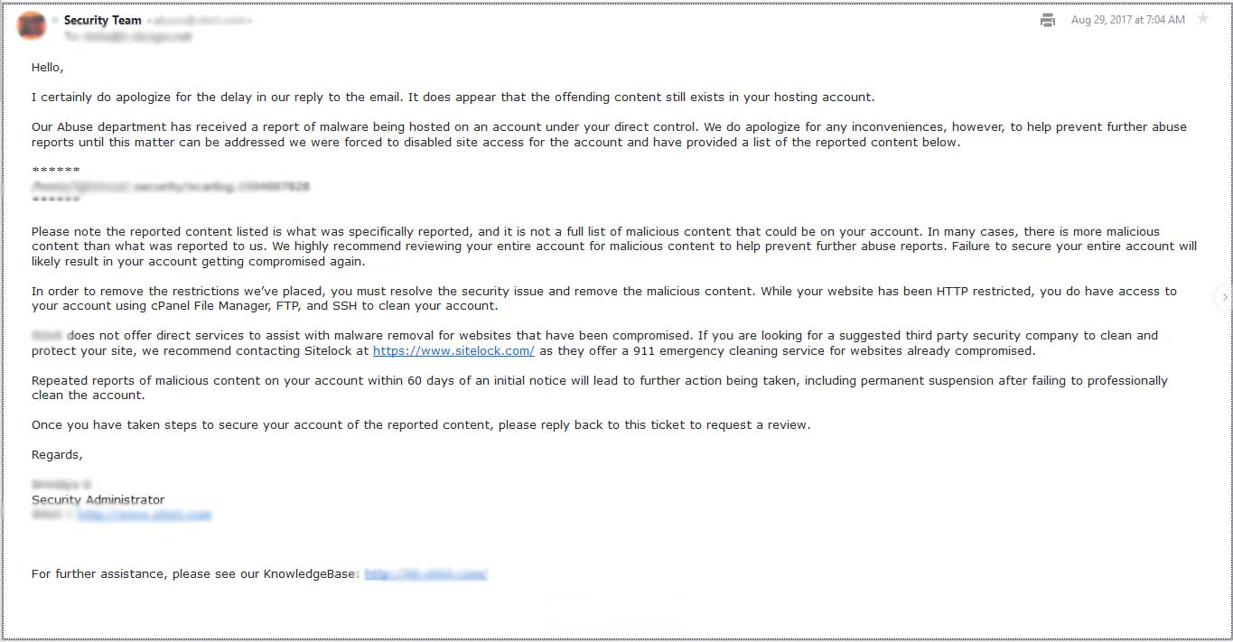 Sample Email from Hosting Company Regarding Disabled Hacked Website